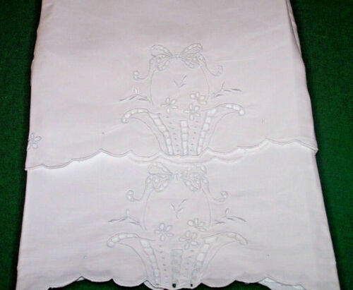 VINTAGE WHITEWORK PILLOWCASES, LINEN, FLOWER BASKET DESIGN, CUTWORK, c1930