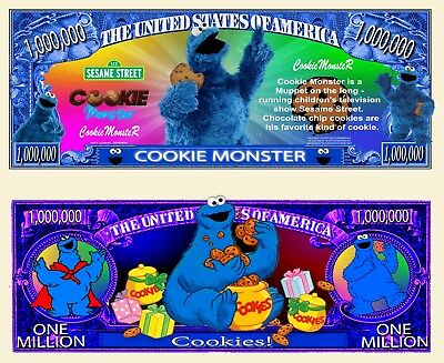 NEW! Cookie Monster Million Dollar Bill Funny Money Novelty Note + FREE SLEEVE - Cookie Sleeves