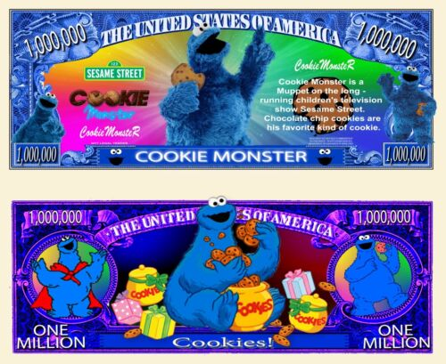 NEW! Cookie Monster Million Dollar Bill Funny Money Novelty Note + FREE SLEEVE