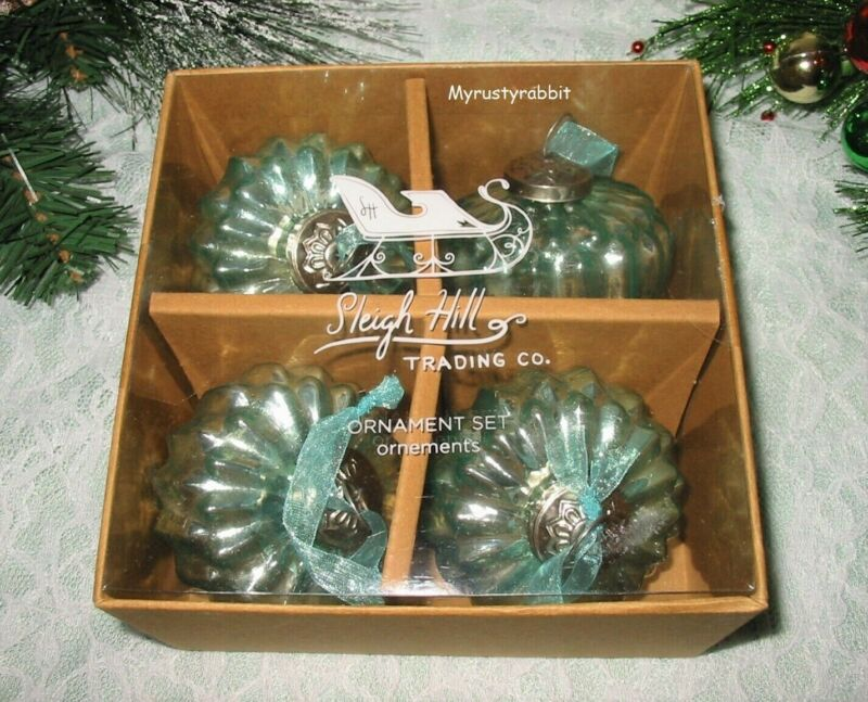 "Green Mercury Glass Kugel Style Christmas Ornaments 3"" - Set of 4 - Aquamarine"