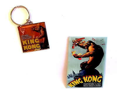 KING KONG - ORIGINAL 1933 FILM POSTER - Keyring & Fridge Magnet Set