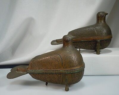 Pair Antique Figural Pigeon Copper Betel Nut Boxes