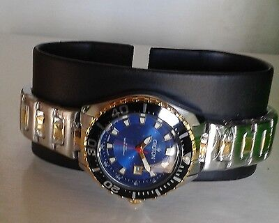 Croton Aquamatic Stainless Steel gold Bracelet BLUE Dial Watch CA201228 NEW Croton Silver Bracelet