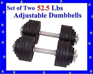 New 2 x 52.5 LBS A Set Adjustable Cast Iron Dumbbells Total 105 lbs Dumbbell