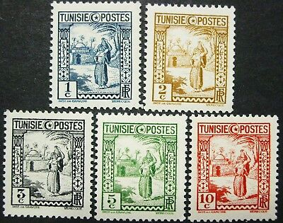 Tunisia, Country & People, Arab Woman, 1931 Scott 122-26, 5 Stamps, MH