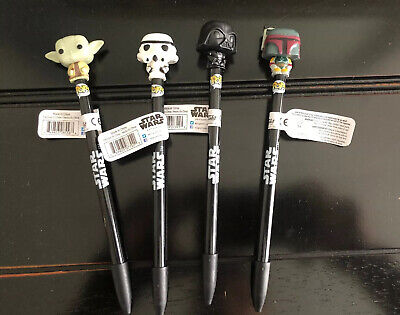 Funko Stars Wars ~ Set of 4 Pens ~ Yoda Darth Vader Storm Trooper Boba Fett