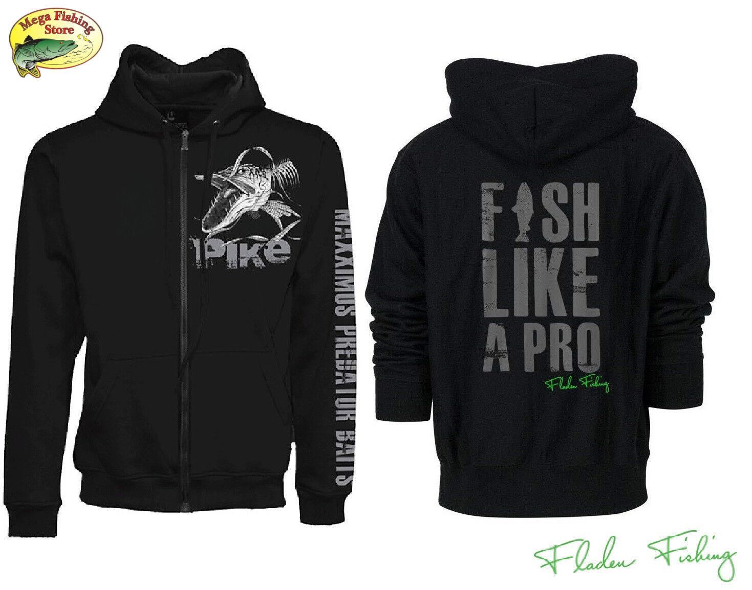 Fladen Fishing Pike Hoody - Pullover Angel Jacke Hecht - Kapuzenpullover Hoodie