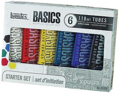 Liquitex BASICS Acrylic Paint Set, 4 Ounce Tubes, Assorted Color, Set Of 6