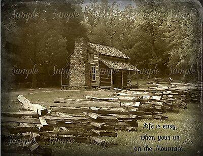 Primitive Log Cabin Smoky Mountains Cades Cove Print 8x10