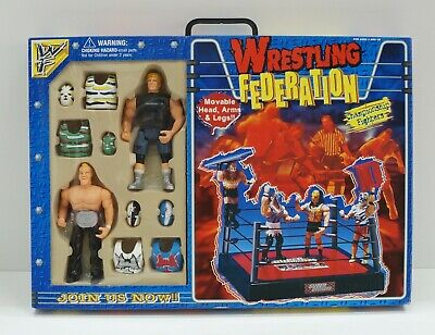 WF Wrestling Federation. Ring + 2 Action Figure con Accessori Championship Fi...