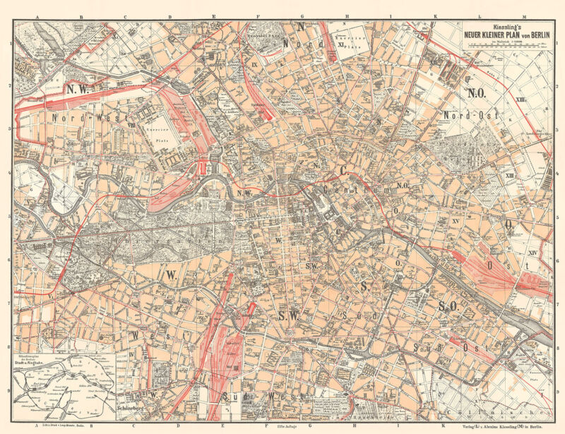 Berlin Historical City Map from 1897, Alexius Kießling, Vintage Print Poster