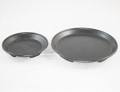 2 Round Black Plastic Humidity Trays for Bonsai Tree / House Plant 4.75