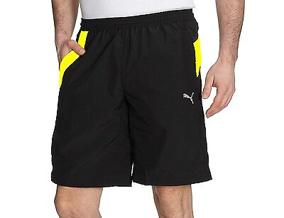 New Mens PUMA Woven Longer Shorts Pants Sports Gym Summer Knee Length - Black