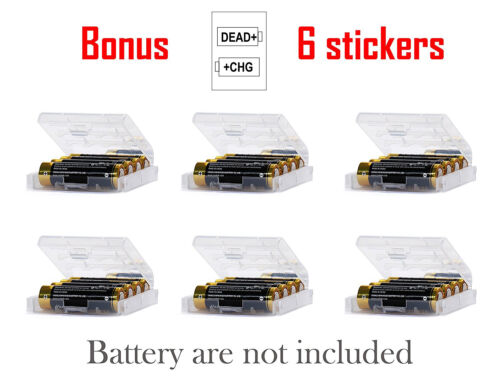 AA/AAA Cell Battery Storage Case/Holder/Organizer Box Clear Hard Plastic 6 Pack