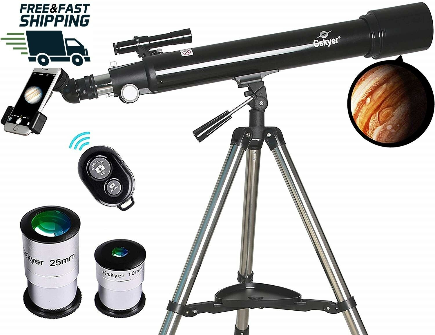 Gskyer - Astronomy Refractor Telescopes, 70mm Apeture Scope 700mm Apeture Scope