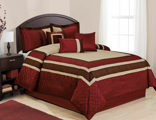 HIG 7 Piece MYA Embroidery Patchwork Bed in a Bag Comforter Sets- Queen King CK