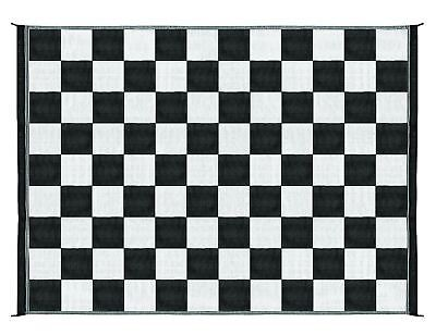 Outdoor Patio Deck RV Mat Reversible Rug 9 x 12 ft Foldable Black White Checker (Checkered Carpet Black And White)