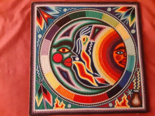 """Mexican Huichol Art Yarn Painting      """"Sun and Moon""""   Signed"""