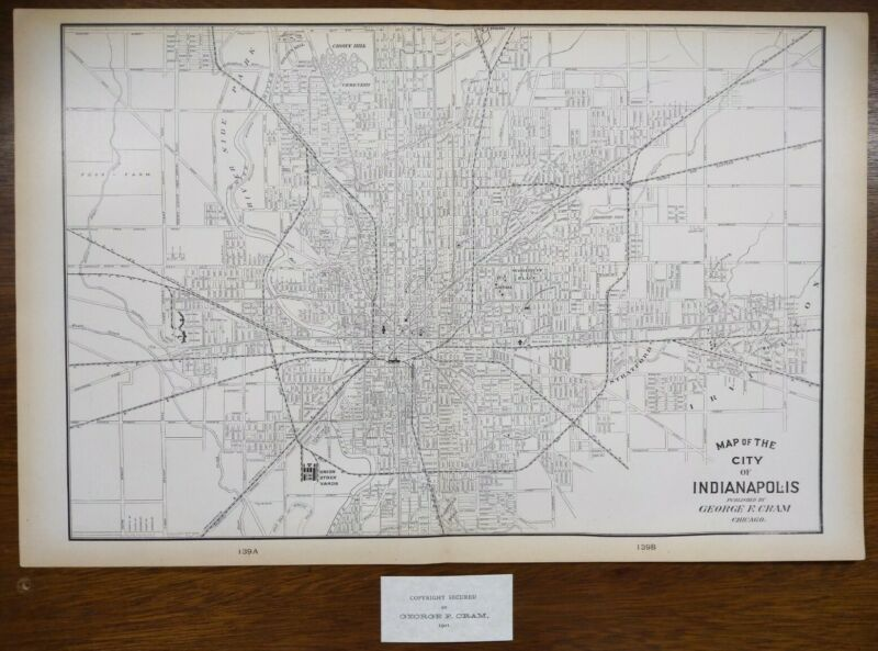 "Vintage 1901 INDIANAPOLIS INDIANA Map 22""x14"" Old Antique Original OLD NORTHSIDE"