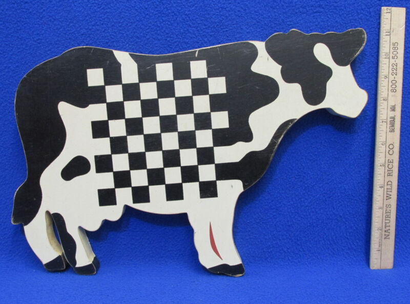 Wood Cow Wall Hanging Black & White w/ Checkerboard Center Wang Int