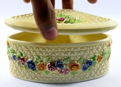 Antique Old Ceramic Trinket, Jewelry, Candy Box Rare Nice collectible. i59-36 UK