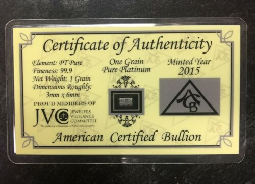1 GRAIN .999 PURE PLATINUM 2015 CERTIFIED BULLION JVC CARD