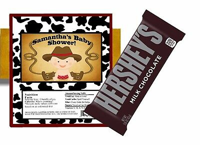 10 WESTERN COWBOY BABY SHOWER HERSHEY BAR WRAPPERS FOILS PARTY FAVORS - Western Baby Shower