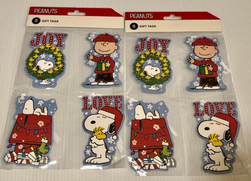 Peanuts CHRISTMAS GIFT TAGS 2 NEW 8pks Snoopy Woodstock Charlie Brown Joy Love