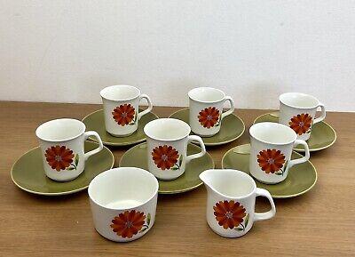 Vintage J & G Meakin Studio Dahlia Cup Saucer Jug Bowl Coffee Tea Set Rare Retro for sale  Shipping to Ireland