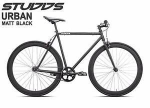 Matt Black Fixie Bike with Quando flip flop hub Adelaide CBD Adelaide City Preview