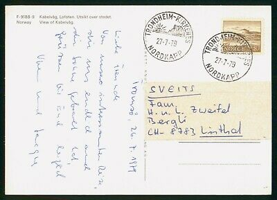Mayfairstamps Norway 1979 Northcape Trondheim-Kirkenes Cancel Postcard wwo97181