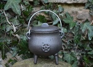 Pot Bellied Cast Iron Cauldron With Pentagram ~ Pagan ~ Wicca ~ Altar ~