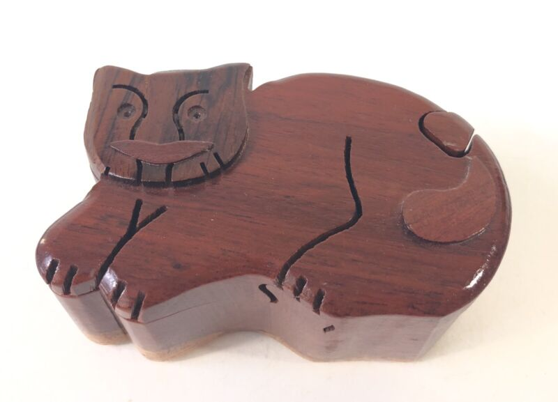 Vintage Wooden Carved Cat Puzzle Secret Compartment Jewelry Trinket Box