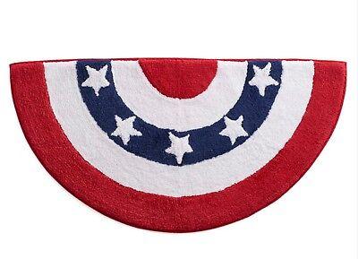 Patriotic Flag Bunting Bath Rug Mat Cotton 18x34 NWT (Bunting Mat)