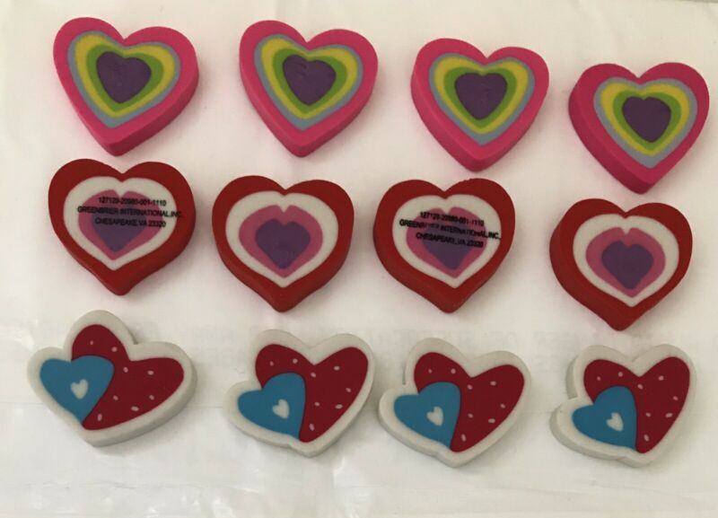 12 Heart Shaped Erasers
