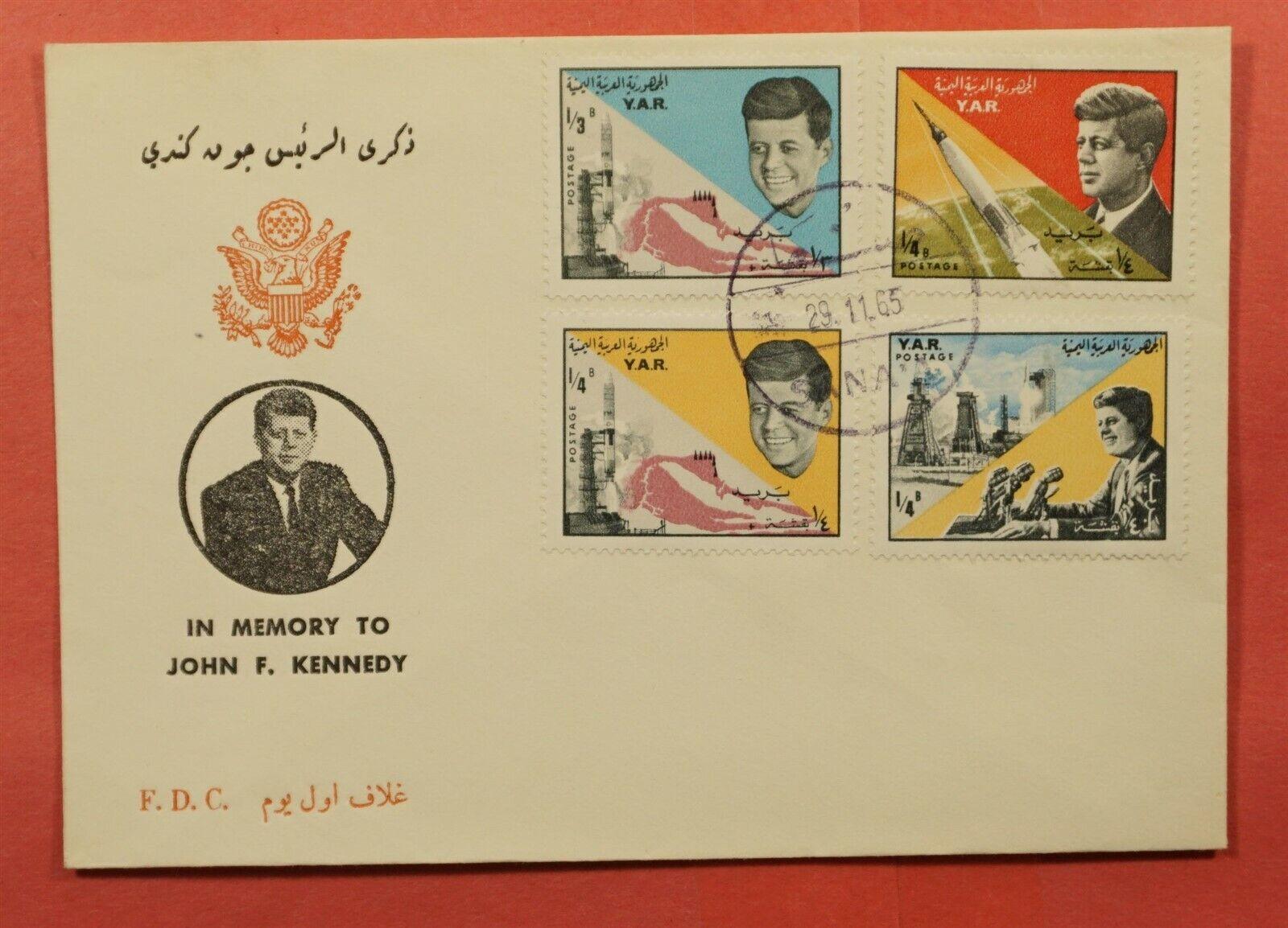 1965 YEMEN ARAB REPUBLIC FDC SPACE IN MEMORY JFK 196022 - $4.00