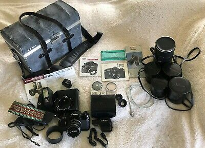 EARLY Canon F-1 Camera w/ 5 Lenses, Case, Booster T Finder and More...From Japan