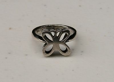 Vintage Cellini Sterling Silver Cut Out Butterfly Band Ring, Size 5 1/2 Cut Out Butterfly Ring