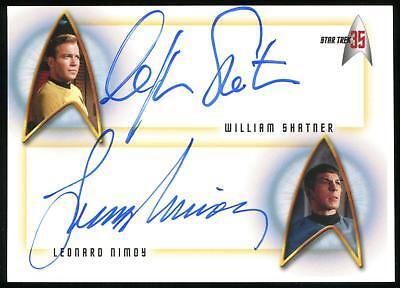William Shatner Leonard Nimoy Dual Auto 2001 Star Trek 35th Anniversary RARE