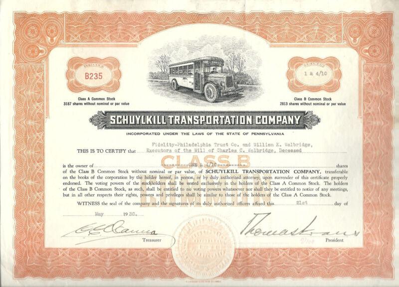 PENNSYLVANIA 1930 Schuylkill Transportation Company Stock Certificate