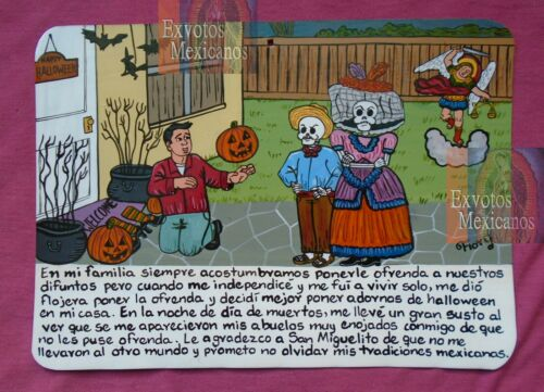 Ex-voto man gets scared with his deceased grandparents on the Day of the Dead