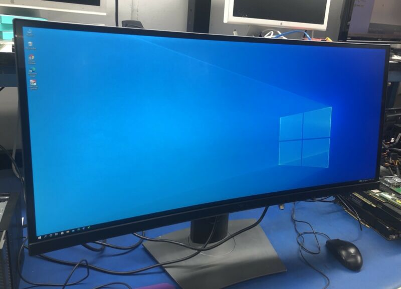 "Dell U3415WB 34"" WIDESCREEN CURVED LCD MONITOR TESTED"