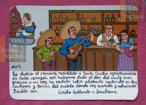 Ex-voto traditional Mexican singer appreciates having a good voice handpainting