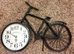 RARE 19X14 RETRO BICYCLE QUARTZ WALL SHELF KENSINGTON STATION LONDON METAL CLOCK