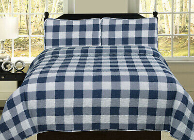 Buffalo Check Plaid Stripe Checkered Quilt Bedding Set, Navy and White ()