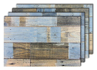 Premium Tischsets Holzoptik Shabby Braun-Blau PVC-CV Abwaschbar Kunststoff 🍴