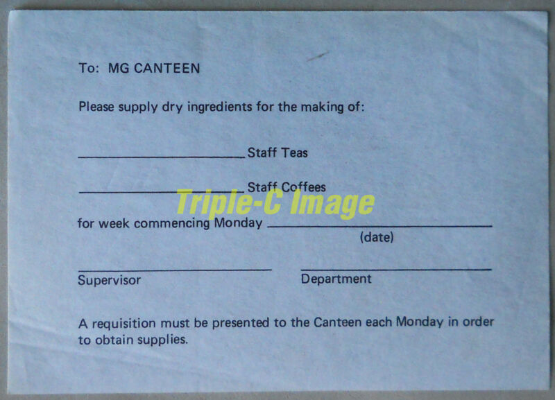 "MG Abingdon ""Canteen requisition""  - for the avid MG ephemera collector"
