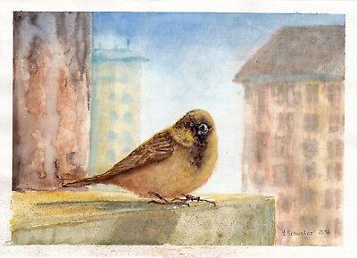"original aquarell "" Warm Day"" abstrakt signiert 35cmx25cm"