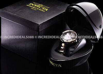 Invicta Men Grand Scuba Pro Diver Rose Gold Black Two Tone Watch w Helmet Case