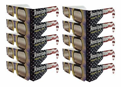 Solar Eclipse Glasses   American Flag 10 Sleeved   Iso Certified Ce Approved